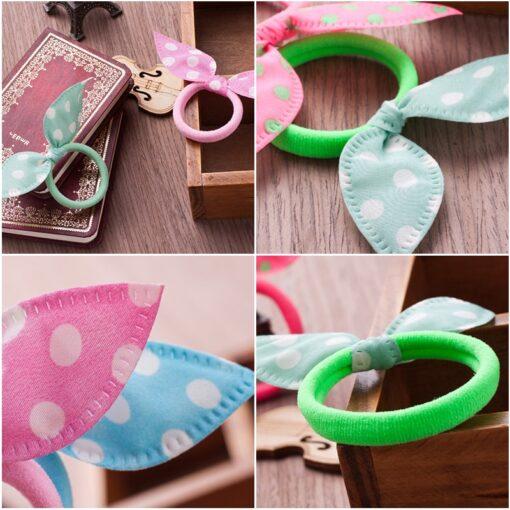 10PCS Lot Gilrs Hair Rope Solid Satin Cloth Scrunchie Elastic Bow Fashion Kids Cute Rabbit Ear 1