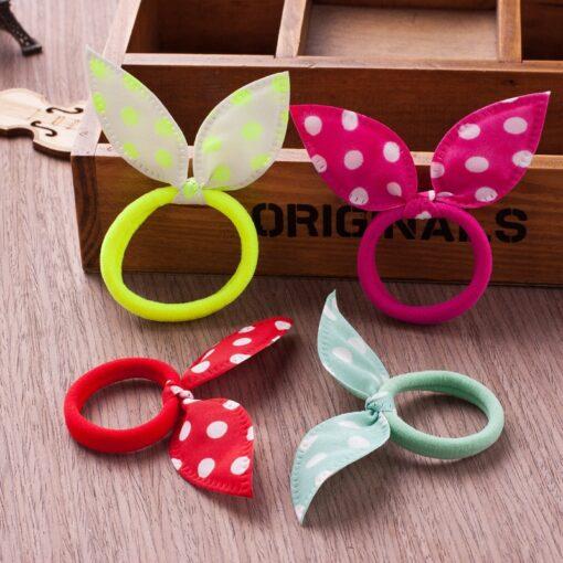 10PCS Lot Gilrs Hair Rope Solid Satin Cloth Scrunchie Elastic Bow Fashion Kids Cute Rabbit Ear 2