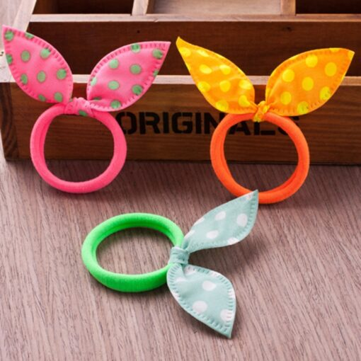 10PCS Lot Gilrs Hair Rope Solid Satin Cloth Scrunchie Elastic Bow Fashion Kids Cute Rabbit Ear 3