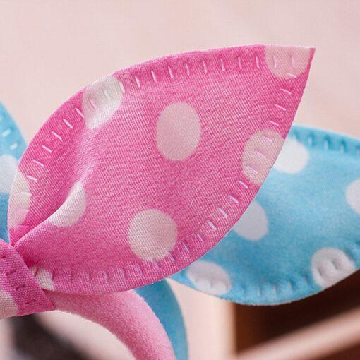 10PCS Lot Gilrs Hair Rope Solid Satin Cloth Scrunchie Elastic Bow Fashion Kids Cute Rabbit Ear 4