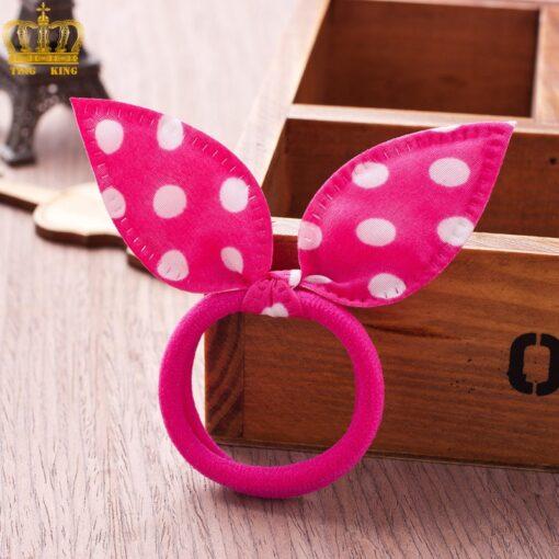10PCS Lot Gilrs Hair Rope Solid Satin Cloth Scrunchie Elastic Bow Fashion Kids Cute Rabbit Ear 5