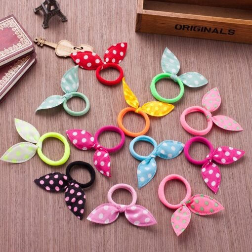 10PCS Lot Gilrs Hair Rope Solid Satin Cloth Scrunchie Elastic Bow Fashion Kids Cute Rabbit Ear