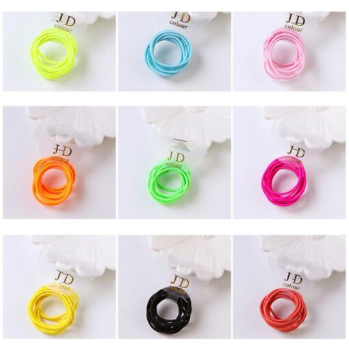 10PCS lot Girls Candy Colors Nylon Elastic Hair Bands Children Rubber Band Headband Disposable Rubber Band 1