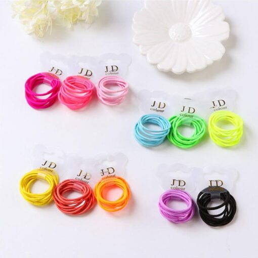 10PCS lot Girls Candy Colors Nylon Elastic Hair Bands Children Rubber Band Headband Disposable Rubber Band 2