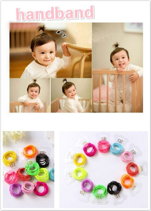 10PCS lot Girls Candy Colors Nylon Elastic Hair Bands Children Rubber Band Headband Disposable Rubber Band