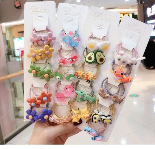 10Pcs Girls Hair Band Ties Rope Ring Elastic Hairband Ponytail Holder Korean Version Of The Head 2