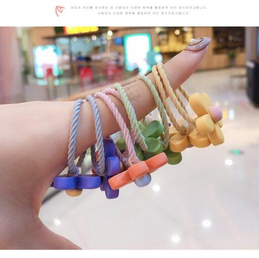10Pcs Girls Hair Band Ties Rope Ring Elastic Hairband Ponytail Holder Korean Version Of The Head 4