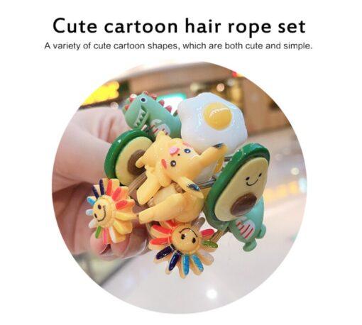 10Pcs Girls Hair Band Ties Rope Ring Elastic Hairband Ponytail Holder Korean Version Of The Head 5