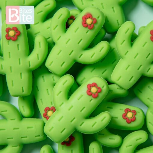 10pc Silicone Cactus Beads Baby Teether Food Grade Silicone Beads DIY Baby Teething Necklace Pacifier Chain 2