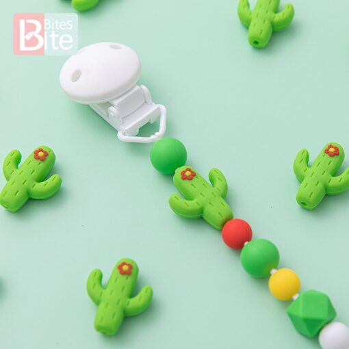 10pc Silicone Cactus Beads Baby Teether Food Grade Silicone Beads DIY Baby Teething Necklace Pacifier Chain 3