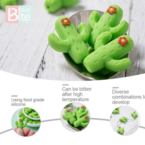 10pc Silicone Cactus Beads Baby Teether Food Grade Silicone Beads DIY Baby Teething Necklace Pacifier Chain 4