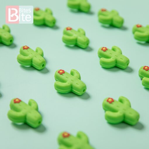 10pc Silicone Cactus Beads Baby Teether Food Grade Silicone Beads DIY Baby Teething Necklace Pacifier Chain 5