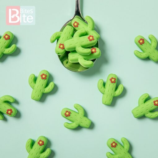 10pc Silicone Cactus Beads Baby Teether Food Grade Silicone Beads DIY Baby Teething Necklace Pacifier Chain