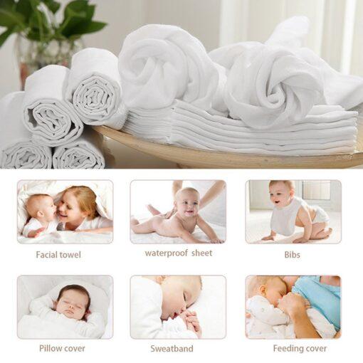 10pcs Newborn Reusable Baby Muslin Diapers Burp Cloth squares Soft Gauze Pure Cotton ecological Nappy Washable 1