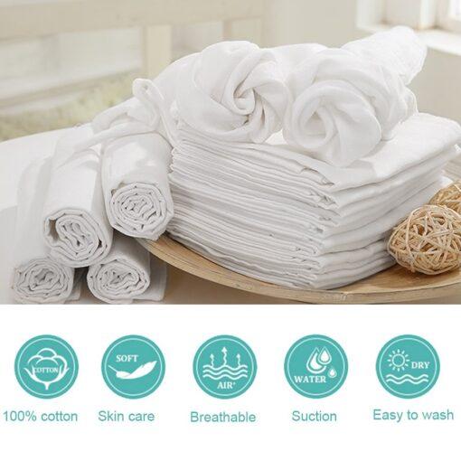 10pcs Newborn Reusable Baby Muslin Diapers Burp Cloth squares Soft Gauze Pure Cotton ecological Nappy Washable 2