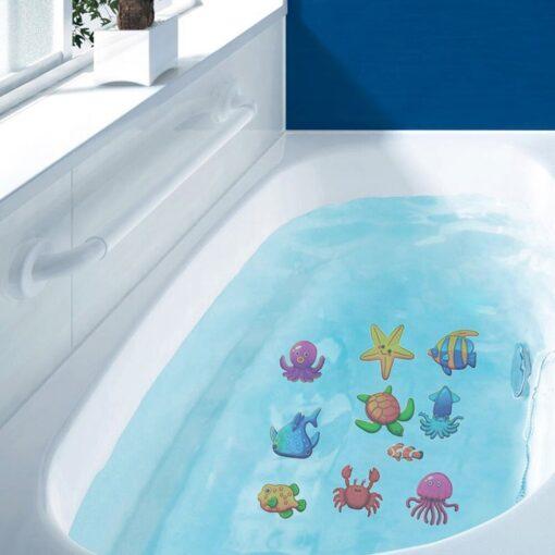 10pcs Non Slip Bathtub Stickers toys Marine Life Bathroom Self Adhesive Decals for Bath Tub Stairs 4