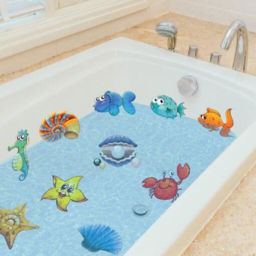 10pcs Non Slip Bathtub Stickers toys Marine Life Bathroom Self Adhesive Decals for Bath Tub Stairs 5