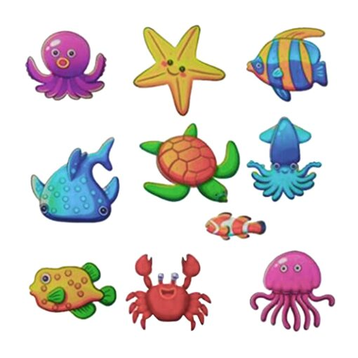 10pcs Non Slip Bathtub Stickers toys Marine Life Bathroom Self Adhesive Decals for Bath Tub Stairs