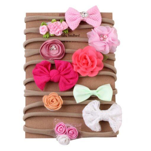 10pcs Set Baby Kids Girls Elastic Hairband Children Headwear Hair Bands For Infants Cute Flower Bowknot 2