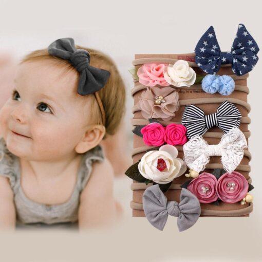10pcs Set Baby Kids Girls Elastic Hairband Children Headwear Hair Bands For Infants Cute Flower Bowknot