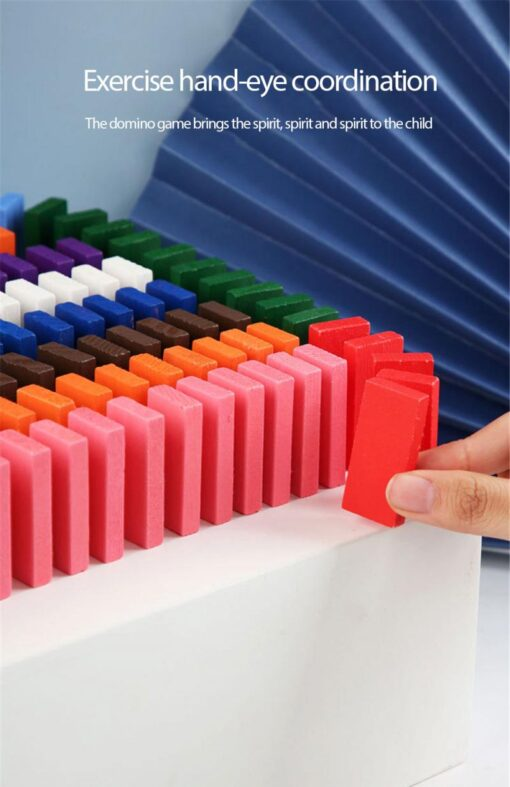 12 Colors 120pcs Mixing Dominoes Children s Building Blocks Large Domino Children s Early Education Wooden 3