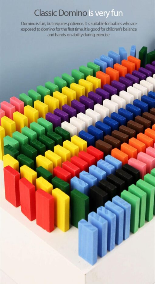 12 Colors 120pcs Mixing Dominoes Children s Building Blocks Large Domino Children s Early Education Wooden 4