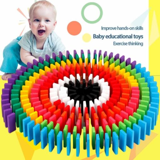 12 Colors 120pcs Mixing Dominoes Children s Building Blocks Large Domino Children s Early Education Wooden