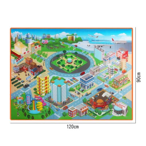 120 90CM Large City Road Play Mat Waterproof Non woven Kids Car Playmat Toys for Children 3