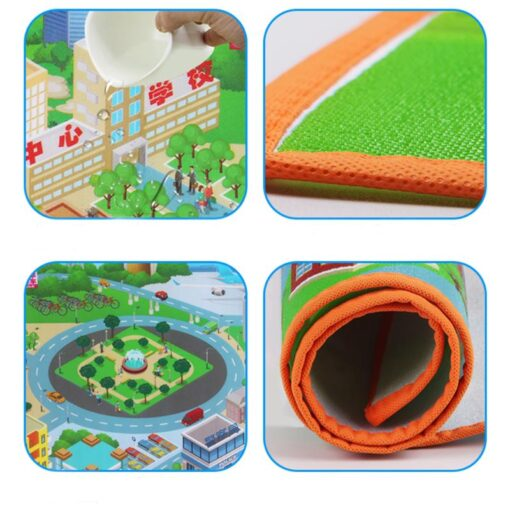 120 90CM Large City Road Play Mat Waterproof Non woven Kids Car Playmat Toys for Children 5