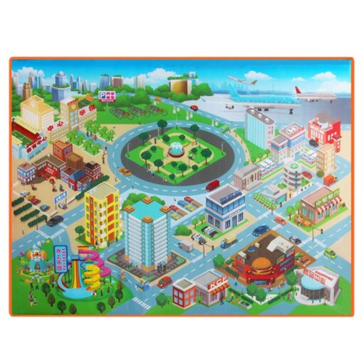 120 90CM Large City Road Play Mat Waterproof Non woven Kids Car Playmat Toys for Children