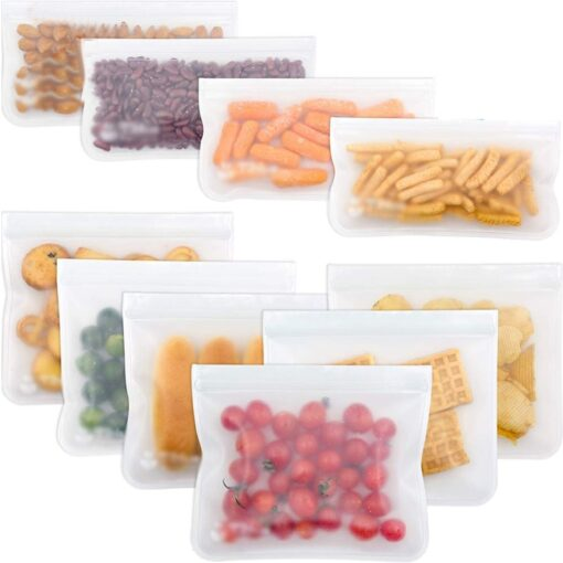 12Pcs Reusable Silicone Food Storage Bags Stasher Wrap Seal Bowl Vacuum Containers Leakproof Up Zip Shut 1