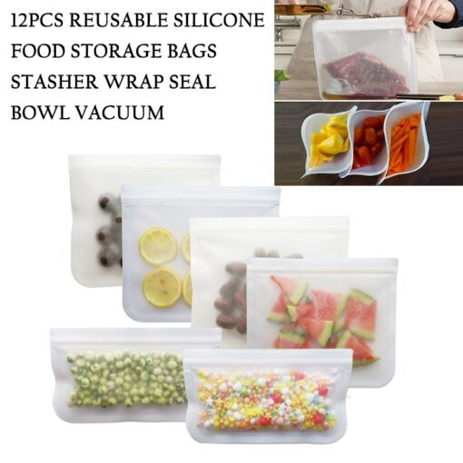 12Pcs Reusable Silicone Food Storage Bags Stasher Wrap Seal Bowl Vacuum Containers Leakproof Up Zip Shut 4