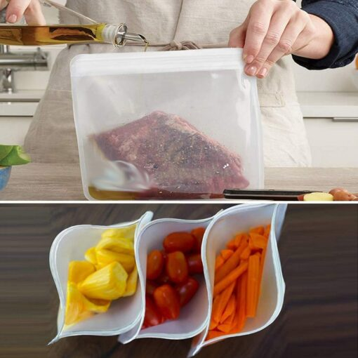 12Pcs Reusable Silicone Food Storage Bags Stasher Wrap Seal Bowl Vacuum Containers Leakproof Up Zip Shut 5
