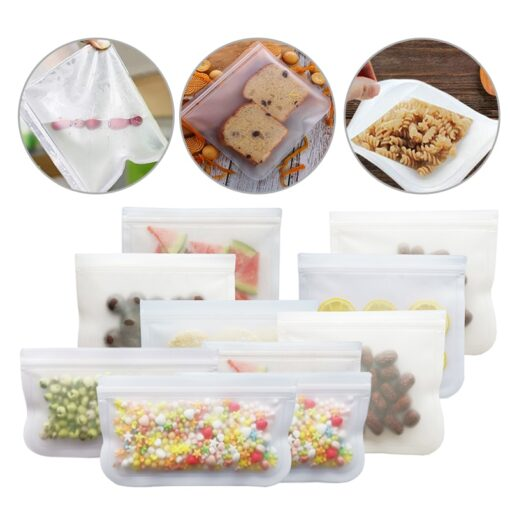 12Pcs Reusable Silicone Food Storage Bags Stasher Wrap Seal Bowl Vacuum Containers Leakproof Up Zip Shut