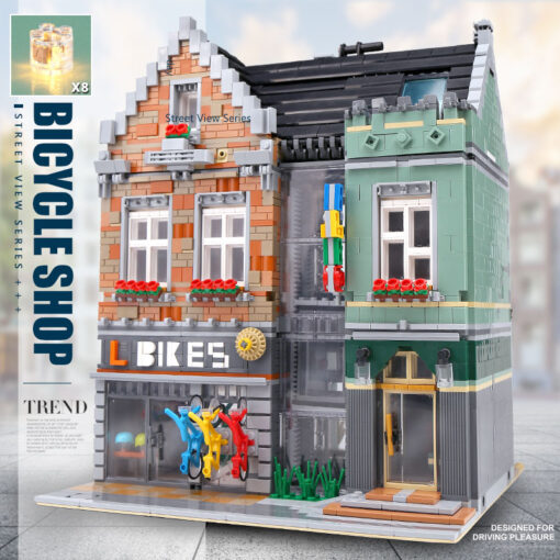 15034 Streetview Building Toys Compaitble With 10004 MOC Bike Shop Model Building Blocks Assembly Bricks Kids 1