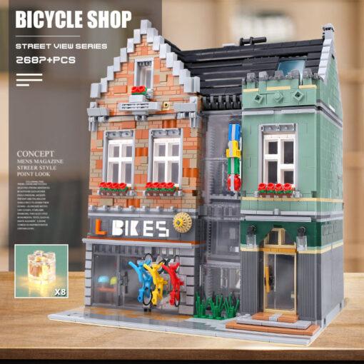 15034 Streetview Building Toys Compaitble With 10004 MOC Bike Shop Model Building Blocks Assembly Bricks Kids 2