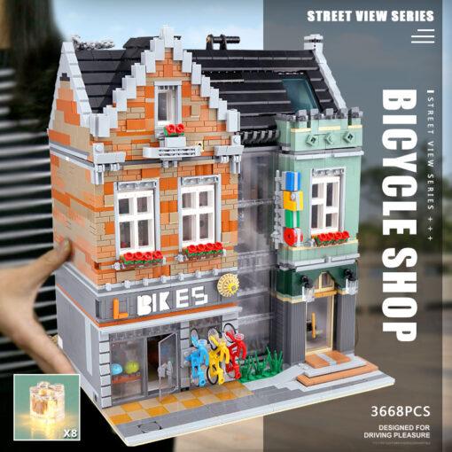 15034 Streetview Building Toys Compaitble With 10004 MOC Bike Shop Model Building Blocks Assembly Bricks Kids 3