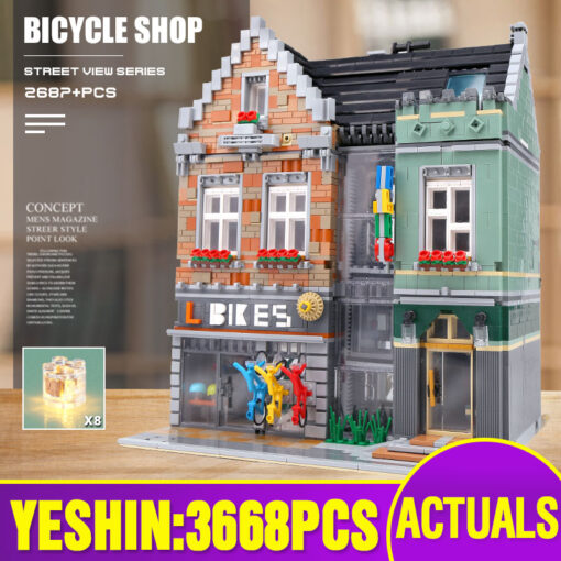 15034 Streetview Building Toys Compaitble With 10004 MOC Bike Shop Model Building Blocks Assembly Bricks Kids
