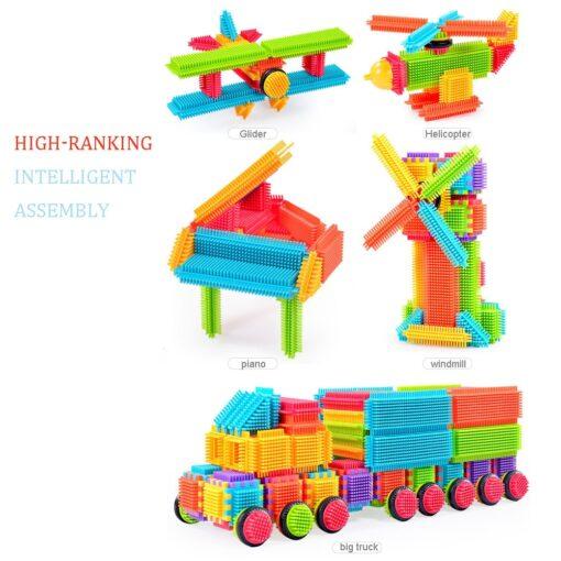 150pcs Bristle Shape 3D Building Blocks Tiles Construction Playboards Toys Kids toys educational Building Blocks Toddlers 1