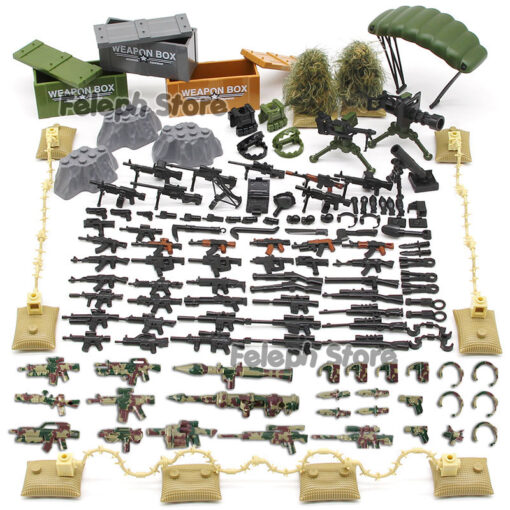 153Pcs Sandbag Laptop Armor Camouflag Building Blocks Model Bricks Military Army SWAT Weapon Team Set MOC 1