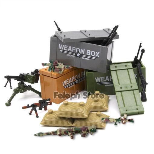 153Pcs Sandbag Laptop Armor Camouflag Building Blocks Model Bricks Military Army SWAT Weapon Team Set MOC 3
