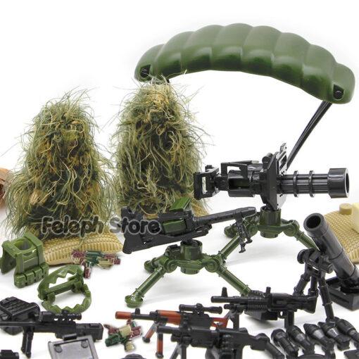 153Pcs Sandbag Laptop Armor Camouflag Building Blocks Model Bricks Military Army SWAT Weapon Team Set MOC 4