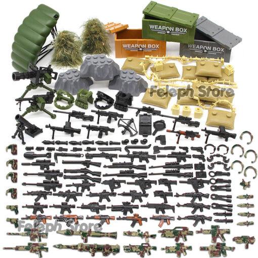 153Pcs Sandbag Laptop Armor Camouflag Building Blocks Model Bricks Military Army SWAT Weapon Team Set MOC