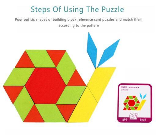 155pcs Tangram Wooden Blocks Intelligence Developmental Colorful Learning Education Puzzle Building Blocks Stack Building Toy 1