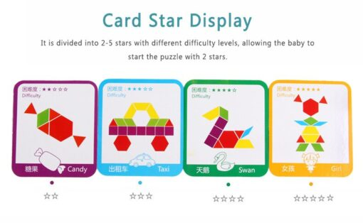 155pcs Tangram Wooden Blocks Intelligence Developmental Colorful Learning Education Puzzle Building Blocks Stack Building Toy 2