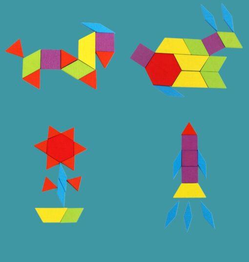 155pcs Tangram Wooden Blocks Intelligence Developmental Colorful Learning Education Puzzle Building Blocks Stack Building Toy 5