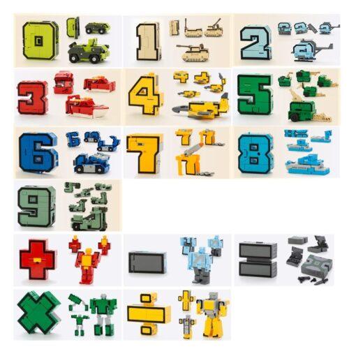 15PCS Assembling Building Blocks Educational Toys Action Figure Transformation Number Robot Deformation Robot Toy for Children 2