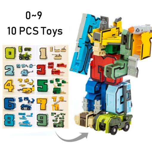 15PCS Assembling Building Blocks Educational Toys Action Figure Transformation Number Robot Deformation Robot Toy for Children 3