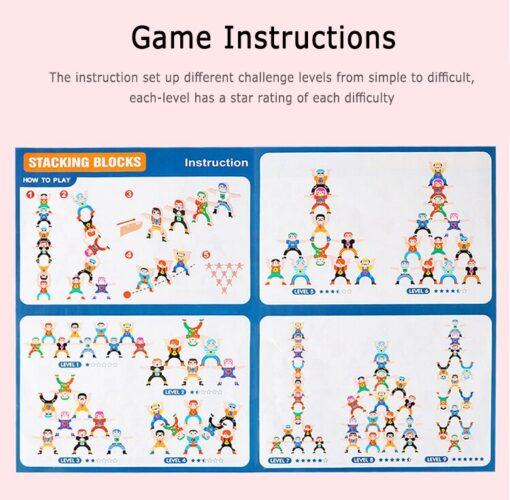 16 Pcs Wooden Hercules Balance Blocks Toy Stacking Game High Building Blocks Balancing Blocks Kids Family 2
