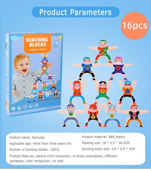 16 Pcs Wooden Hercules Balance Blocks Toy Stacking Game High Building Blocks Balancing Blocks Kids Family 4
